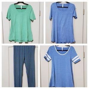 4 x lularoe bundle perfect tee + leggings one size